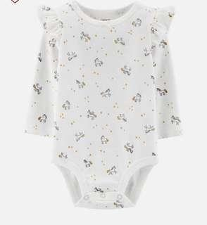 🚚 Carter's unicorn romper w ruffle sleeves