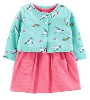 Carter's romper w/ unicorn cardigan