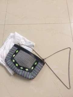 Geometric embroidered shoulder bag