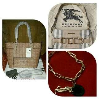 All for 2500 - Overrun Guess Mini Tote, Authentic Quality Burberry Small Handbag and Rosegold Bracelet