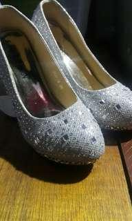 Silver Cinderella-inspired shoes