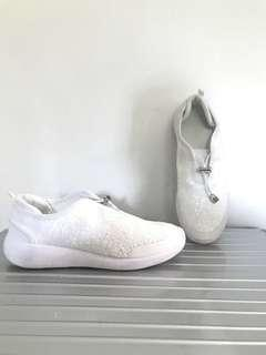 New Zara White Sequin Slip on Sneaker