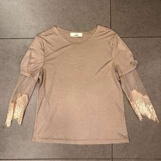 Aalis杏色粉紅色lace衫袖top