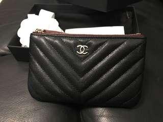 ⭐️WOW⭐️BNIB Chanel Mini O Case Caviar Chevron Black LGHW #26