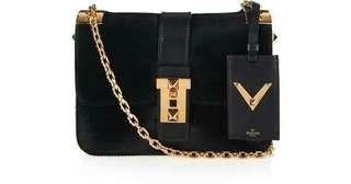Valentino Black B Rockstud Calf Hair Shoulder Bag