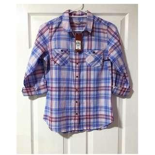 Target Woven 3/4 Sleeve Cotton Check Shirt - Blue/Purple - Size 10