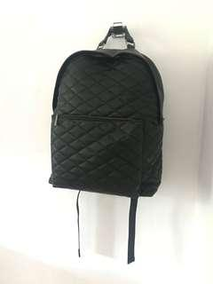 Black Stitched Faux Leather Backpack
