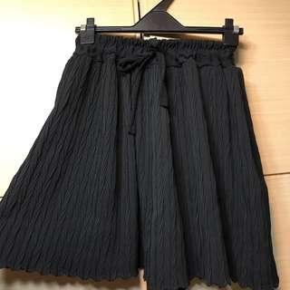 高腰皺摺雪紡褲-黑