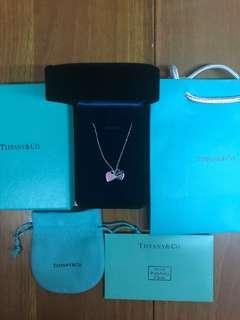 Tiffany 頸鏈 Tiffany&Co 頸鏈 雙細心粉紅色&Tiffany Blue 100%真 全新