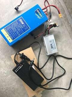 36v 10ah battery w/ controller & charger
