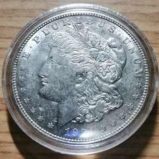 🚚 1921年美國摩根銀元 D版(該年最少版本) UNC 保真 附壓克力小圓盒