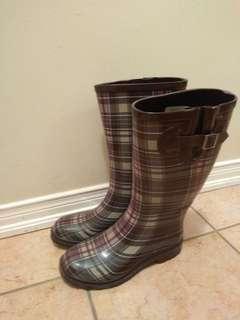 New plaid patterned rainboots