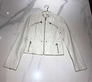 White Leather Jacket size S