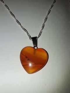 Carnelian heart shape stone necklace