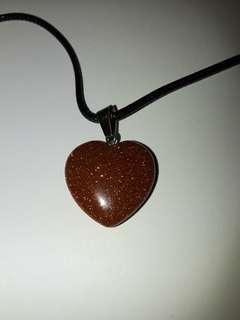 Red goldstone heart shape necklace