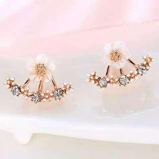 Flower rhinestones earrings stud for fashion #99sale