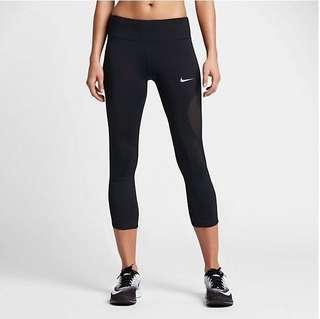美國NIKE 黑色緊身運動八分褲S