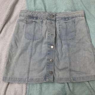 Topshop button down denim skirt