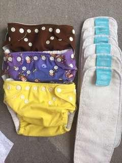 Authentic Charlie Banana washable diapers free training pants