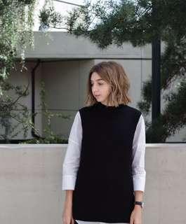Contrast layered dressy sweater