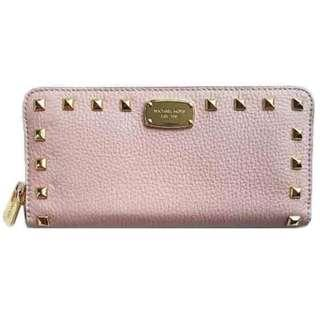 NEW Michael Kors MK Women's Studded Continental Long Leather Wallet (Blossom Pink) BN Michael Kors MK Women's Studded Continental Long Leather Wallet (Blossom Pink)