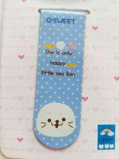 🐬Authentic JAPAN Sea Lion Mother Garden Magnetic Page Marker Bookmark🐬💋No Pet No Smoker Clean Hse💋