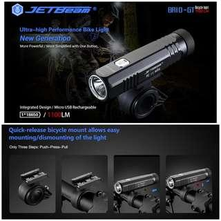 (In-stock) Jetbeam BR10-GT 1,100 Lumens USB Rechargeable Bicycle Front Light