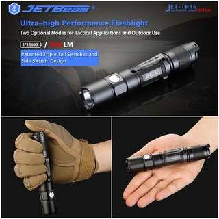 (Free Delivery) Jetbeam TH15 1,300 Lumens USB Rechargeable Tactical Flashlight with Dual Strobe Ready Button