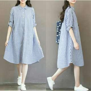 *FREE DELIVERY to WM only / Pre order +-15 days* Maternity long sleeves stripes dress each as shown design/color. Free delivery is applied for this item.
