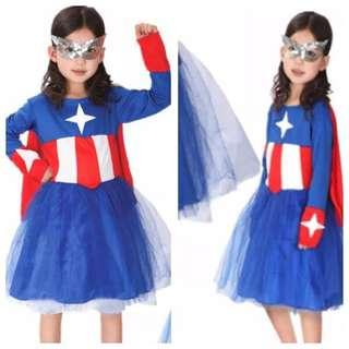 IN STOCK Girl captain America costume girl superhero costume female superhero costume avengers costume Halloween costume children's day costume