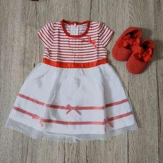 Dress Merah Putih Anak Cewek size S 6-12 bln
