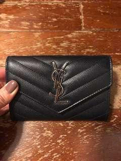 YSL yves saint laurent card holder navy caviar leather