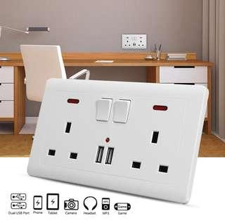 Double electric wall socket charger adapter with dual USB port switch