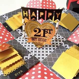 Happy 21st Birthday Explosion handmade red and gold