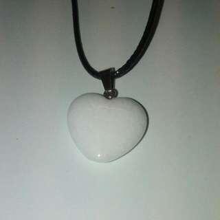 Selenite Heart Shape Stone Necklace
