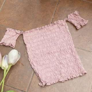 Rose Gold Smocked Tube Top with Sleeves BRAND NEW