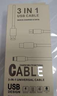 🚚 三合一手機數據線  蘋果安卓type-c +三孔usb插