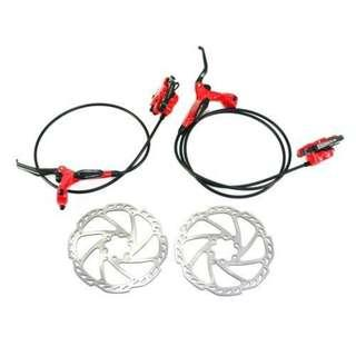 💯🆕(Promotion!)TEKTRO Draco 2 Hydraulic Disc Brake Set With Rotor & Bleed Kit (Red) Limited Stock