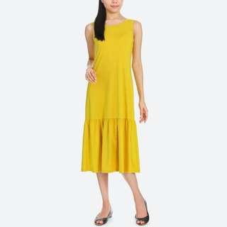 Women Flare Sleeveless Bra Dress from Uniqlo in Mustard