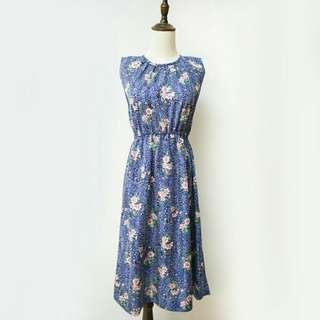日本帶回古著縮腰藍色碎花洋裝