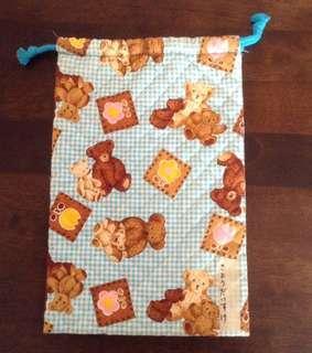 Teddy Bear Printed Drawstring Pouch Bag