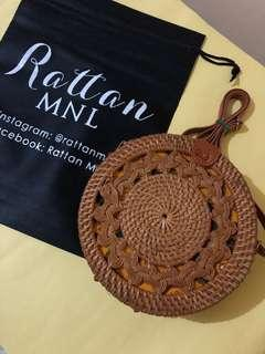 On hand! 20cm Rattan bag with double braided design + Adjustable strap ~ Leather clip 🌼