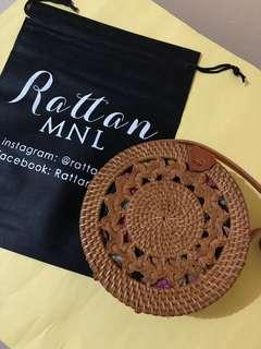 On hand! 20cm Rattan Bag with double braided design ~ Leather clip 🌼
