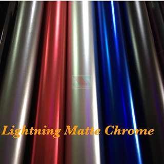 Lightning Matte Chrome Vinyl Sticker Wrap