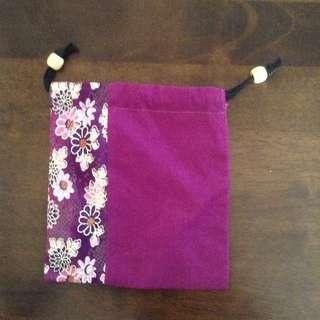 Violet with floral print pouch