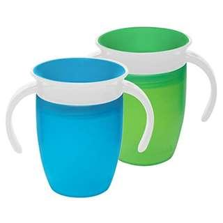 Munchkin Miracle 360 Trainer Cup. Set of 2. Green/Blue 7 Ounce Each