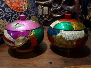 Vintage lacquered  wooden container 2 pcs