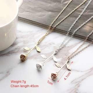 Elegant Rose Pendant Necklace Women Girls Necklace
