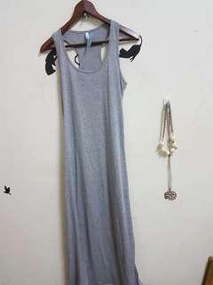 🚚 全新灰色無袖背心長洋裝