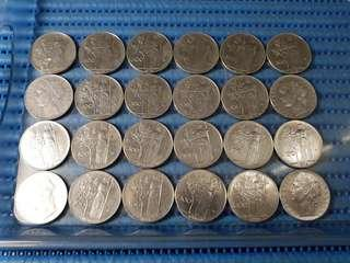 24X Italy 100 Lire Coin ( Lot of 24 Pieces )